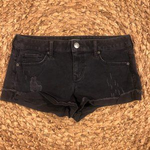 EXPRESS Black Distressed Rolled Shorts